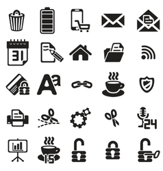 black business icons set on white vector image vector image