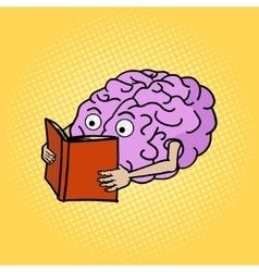 Brain reading pop art style vector image