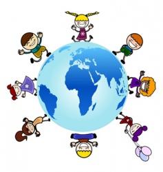 children around the globe vector image