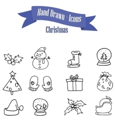 Christmas object hand drawn of icons vector