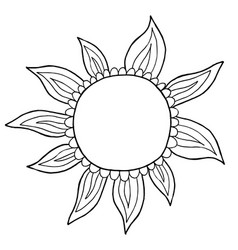 doodle sun hand drawn vector image