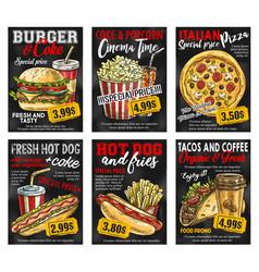 Fast food restaurant menu price card on blackboard vector
