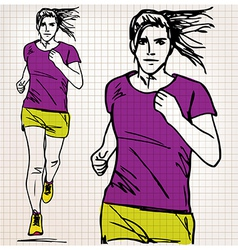 female runner sketch vector image vector image