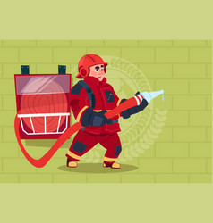 Fireman holding hose wearing uniform and helmet vector