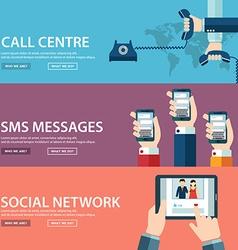 Flat communication background Social network vector image vector image