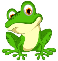Funny green frog cartoon sitting vector