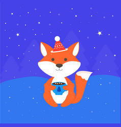 greeting card with fox vector image vector image