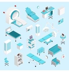 Hospital isometric set vector image