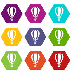 Hot air ballon icon set color hexahedron vector