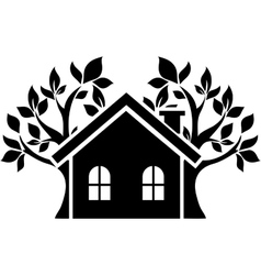 Icon house behind which trees vector image
