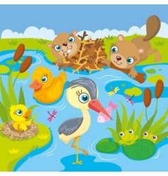 Inhabitants of pond and marshes vector
