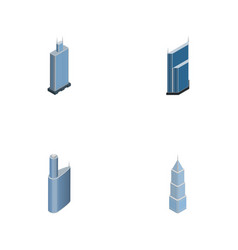 Isometric construction set of building business vector