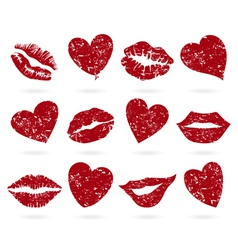 lip icons vector image vector image