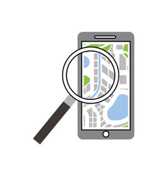 mobile phone navigator map magnifier app vector image