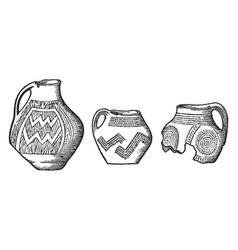 Neolithic age pottery from lake dwelling vintage vector