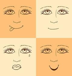 Sketch emoji girl facesl in vintage style vector