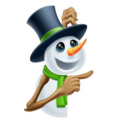 snowman showing christmas message vector image vector image