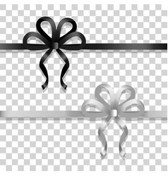 White and black narrow ribbons with bright bows vector