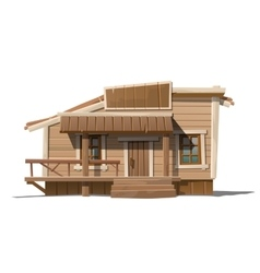 Wooden house with sign and porch in country style vector image