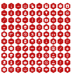 100 oppression icons hexagon red vector image vector image