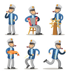 Sailor cartoon character set old captain vector