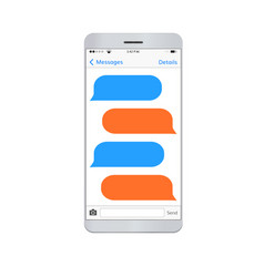 Messaging smartphone with empty dialog bubbles vector