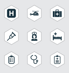 Antibiotic icons set collection of nanny chest vector