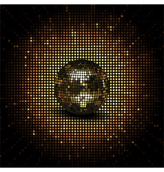 Gold reflective disco ball vector