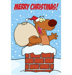 Christmas bear cartoon vector