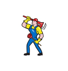Plumber Carrying Wrench Plunger Cartoon vector image