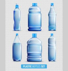Plastic bottles transparent icon set vector