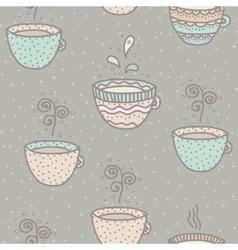 Seamless background with coffee and tea cups vector image