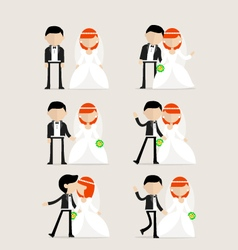 Bride and groom as design elements vector
