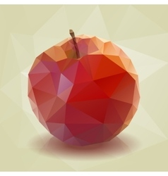 Red low-poly triangular apple vector