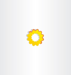 Sun icon abstract yellow flower symbol vector