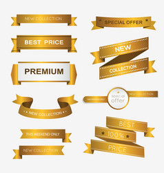 Collection of golden premium promo banners vector