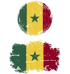Senegalese round and square grunge flags vector