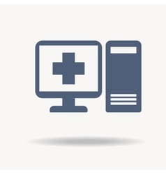 Pc icon with a pharmacy sign  computer flat icon vector