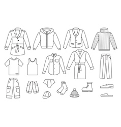 Outline mens clothing collection vector