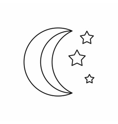 Moon and stars icon outline style vector