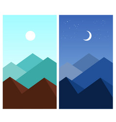 Abstract flat mountain landscape daytime night vector