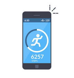 application on the mobile phone to track the steps vector image vector image