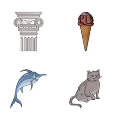 Art animal and other web icon in cartoon style vector