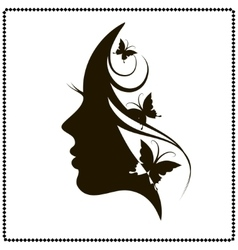 Beautiful female face silhouette in profile vector image