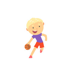 boy playing basketball kids physical activity vector image