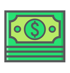 Bundle of money filled outline icon business vector