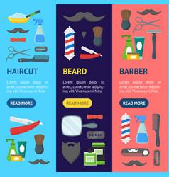 cartoon barbershop shop banner vecrtical set vector image vector image