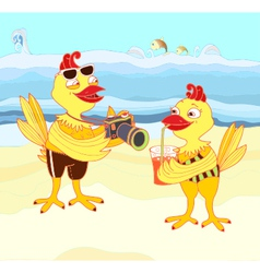 Chickens on vacation vector image vector image