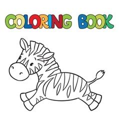 Coloring book of little zebra vector