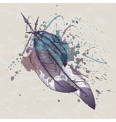 Eagle feathers with watercolor splash vector